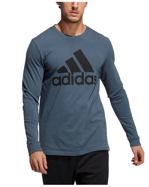 Adidas Blue Logo Long-sleeve T-shirt for men