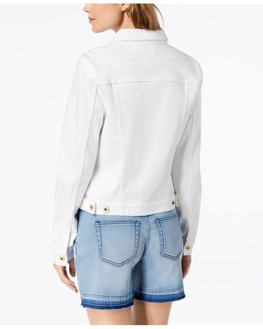 Tommy Hilfiger White Cotton Denim Jacket, Created For Macy's