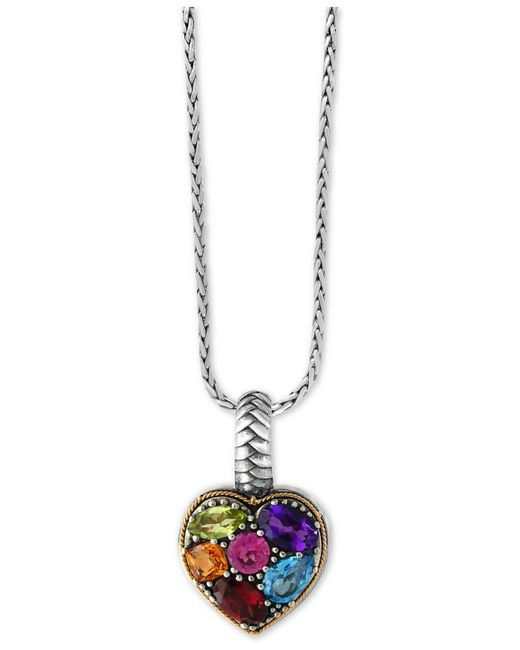 Effy Collection - Metallic Multi-gemstone Pendant Necklace (2 Ct. T.w.) In Sterling Silver And 18k Gold - Lyst