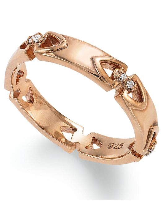 Proposition Love - Brown 14k Rose Gold Over Silver Diamond Accent Wedding Band - Lyst