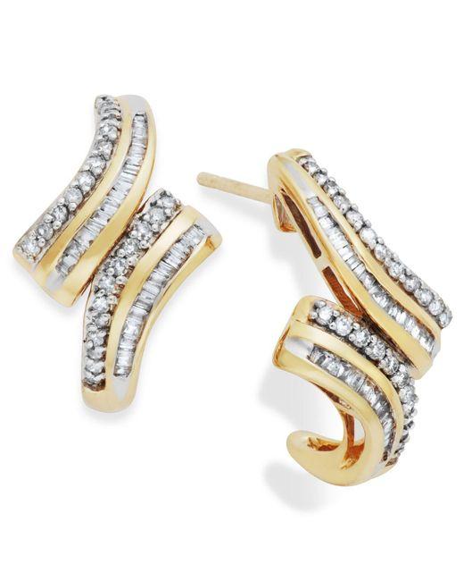 Wrapped in Love | Metallic Diamond Twist Hoop Earrings In 10k Gold (1/2 Ct. T.w.) | Lyst