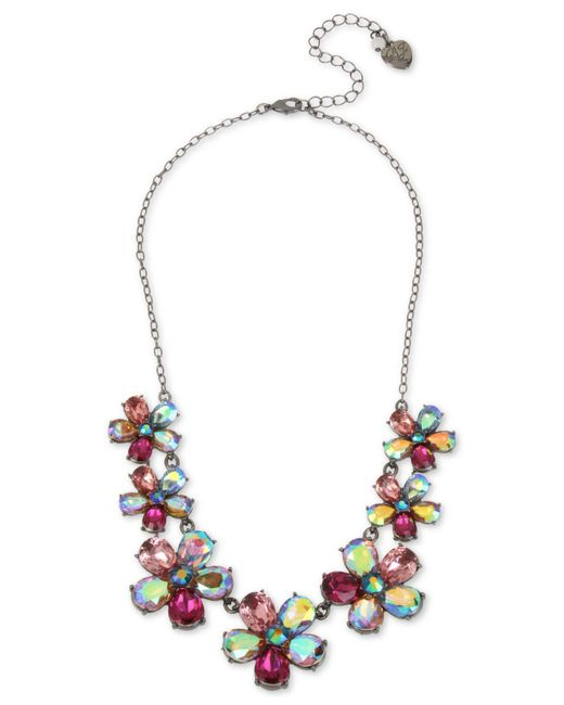 "Betsey Johnson - Multicolor Hematite-tone Crystal Flower Statement Necklace, 16"" + 3"" Extender - Lyst"