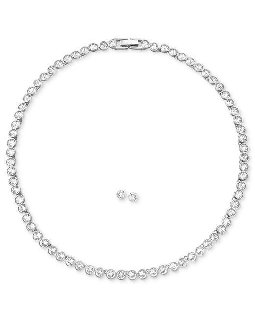 Swarovski | Metallic Jewelry Set, Rhodium-plated Crystal Stud Earrings And Collar Necklace | Lyst