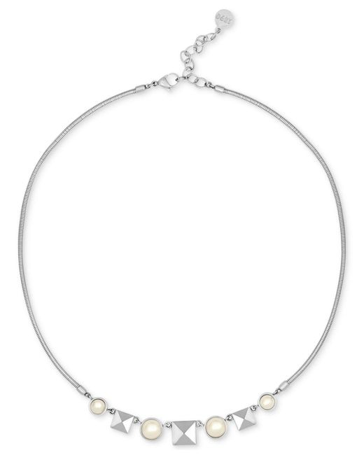 Majorica | Metallic Silver-tone Imitation Pearl And Pyramid Stud Collar Necklace | Lyst