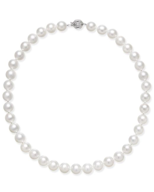Macy's | Cultured White South Sea Pearl (8mm - 12mm) Graduated Collar Necklace | Lyst