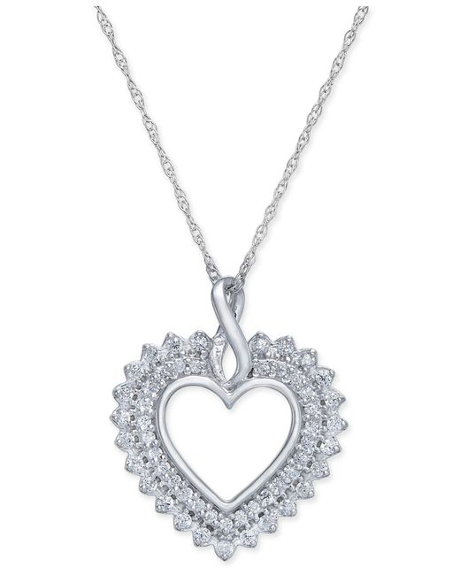 Macy's - Metallic Diamond Heart Pendant Necklace (1/4 Ct. T.w.) In 14k White Gold - Lyst
