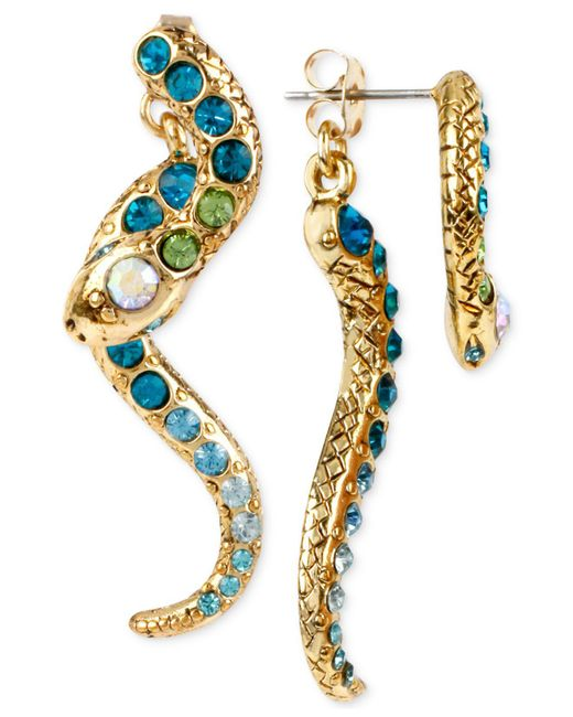 Betsey Johnson - Metallic Gold-tone Pavé Crystal Snake Front And Back Earrings - Lyst