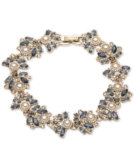 Marchesa Blue Crystal & Imitation Pearl Cluster Flex Bracelet