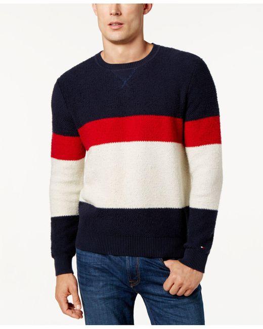 Tommy Hilfiger | Blue Men's Colorblocked Sweater for Men | Lyst