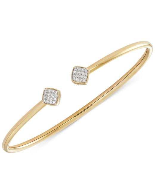 Wrapped in Love | Metallic Diamond Square And Flexy Bangle Bracelet (1/6 Ct. T.w.) In 14k Gold-plated Sterling Silver | Lyst
