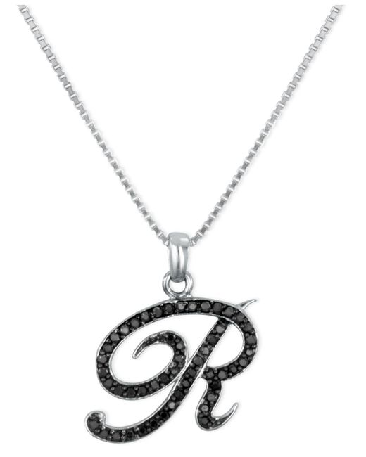 "Macy's - Metallic Sterling Silver Necklace, Black Diamond ""r"" Initial Pendant (1/4 Ct. T.w.) - Lyst"