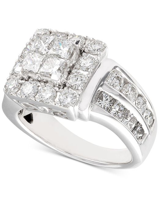Macy's - Metallic Diamond Princess Cluster Engagement Ring (3 Ct. T.w.) In 14k White Gold - Lyst