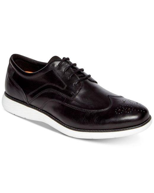 Rockport Black Garett Leather Wingtip Oxfords for men