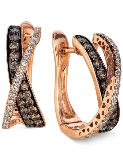 Le Vian - Brown Diamond Chocolate Diamond And White Diamond Crisscross Hoop (1 Ct. T.w.) In 14k Rose Gold - Lyst