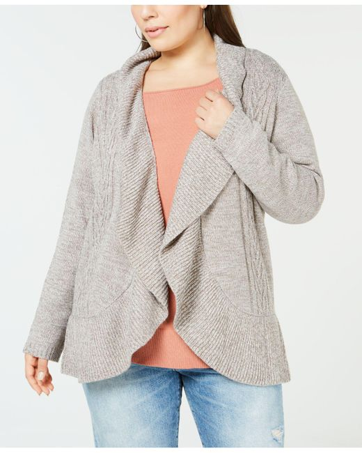Karen Scott - Gray Plus Size Cocoon Cardigan Sweater, Created For Macy's - Lyst