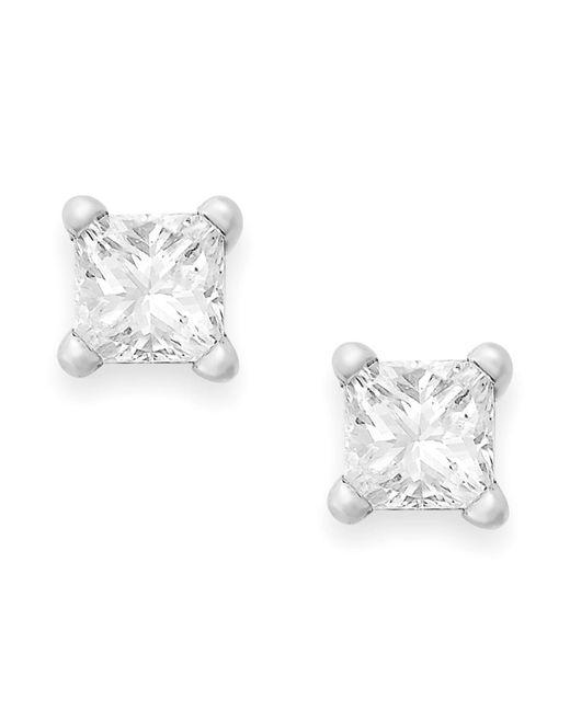 Macy's   Metallic Princess-cut Diamond Stud Earrings In 10k Gold (1/4 Ct. T.w.)   Lyst