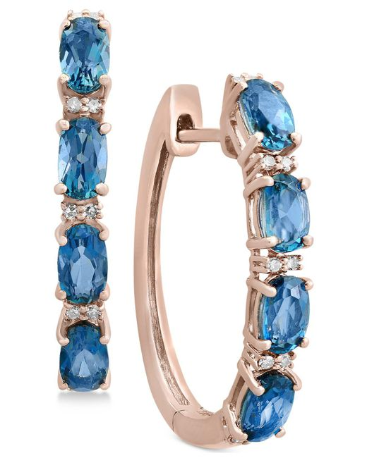 Effy Collection | London Blue Topaz (2-1/2 Ct. T.w.) & Diamond Accent Hoop Earrings In 14k Rose Gold | Lyst