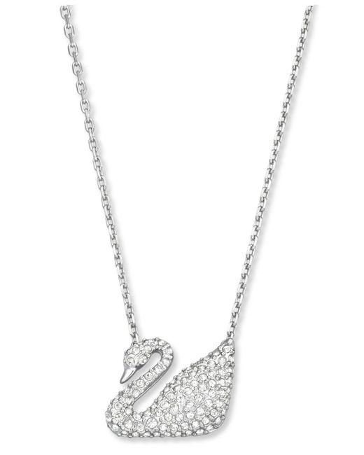 Swarovski   Natural Pendant, Crystal Pave Swan   Lyst