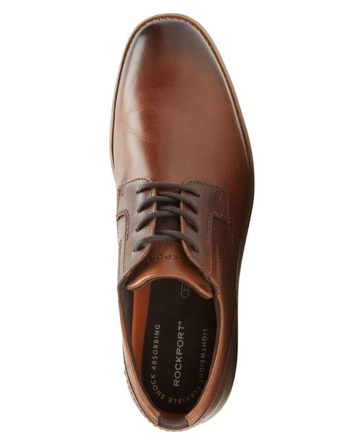 Rockport Leather Tmds 4 Point Lace Up Shoes In Tan Brown