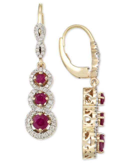 Rare Featuring Gemfields - Multicolor Certified Ruby (1-1/10 Ct. T.w.) And Diamond (1/2 Ct. T.w.) Triple Stone Infinity Drop Earrings In 14k Gold - Lyst