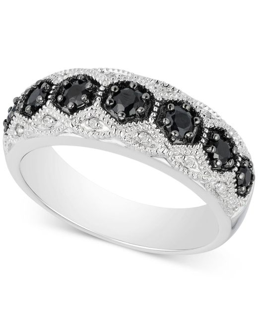 Macy's - Multicolor Black Sapphire (1/2 Ct. T.w.) & Diamond Accent Ring In Sterling Silver - Lyst