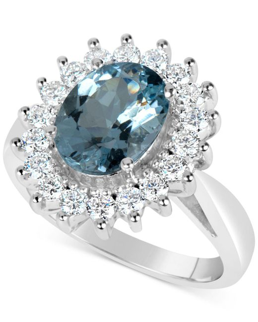 Macy's   Blue Aquamarine (2-1/4 Ct. T.w.) And Diamond (3/4 Ct. T.w.) Ring In 14k White Gold   Lyst