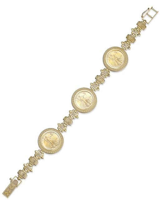 Macy's - Yellow Genuine Eagle Coin Bracelet In 22k And 14k Gold - Lyst