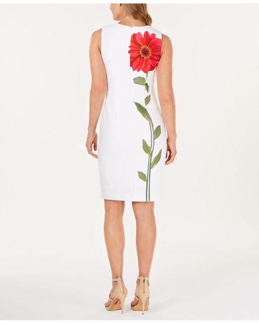 2bc11725f1 ... Calvin Klein - Multicolor Single Flower Sheath Dress - Lyst ...