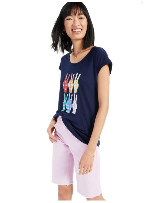 Style & Co. Blue Rainbow Plaid Peace Graphic T-shirt, Created For Macy's