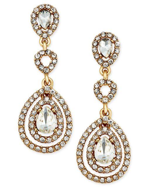 Charter Club - Metallic Gold-tone Crystal And Pavé Orbital Drop Earrings, - Lyst