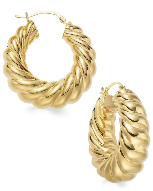 Signature Gold - Metallic Ribbed Hoop Earrings In 14k Gold - Lyst
