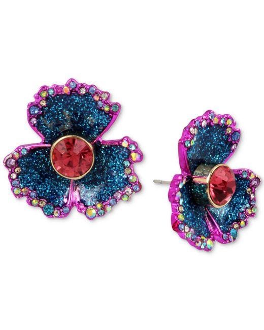 Betsey Johnson - Blue Two-tone Multi-stone & Glitter Flower Stud Earrings - Lyst