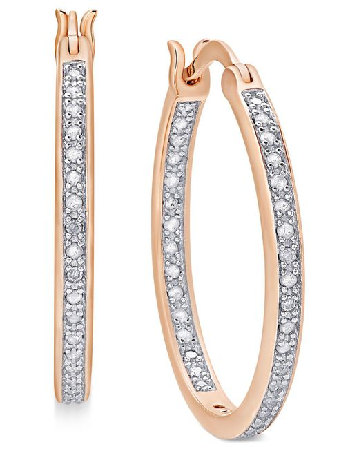 Macy's - Metallic Diamond In And Out Hoop Earrings (1/2 Ct. T.w.) - Lyst
