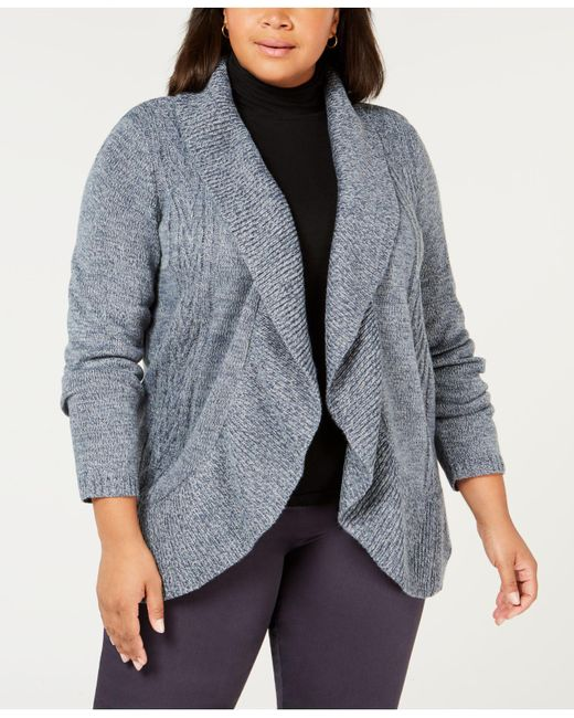 Karen Scott - Blue Plus Size Cocoon Cardigan Sweater, Created For Macy's - Lyst