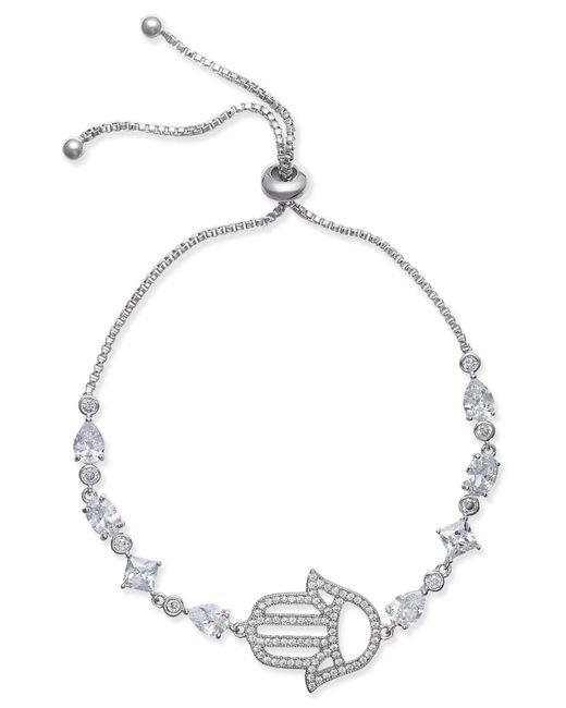 Joan Boyce - White Silver-tone Crystal Hamsa Slider Bracelet - Lyst