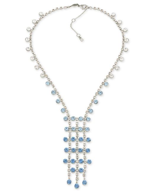 Carolee - Metallic Silver-tone Blue & Clear Crystal Lariat Necklace - Lyst