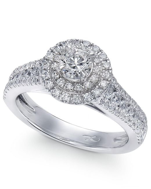 Macy's | X3 Certified Diamond Halo Engagement Ring In 18k White Gold (1-1/4 Ct. T.w.) | Lyst