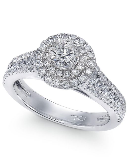 Macy's - X3 Certified Diamond Halo Engagement Ring In 18k White Gold (1-1/4 Ct. T.w.) - Lyst