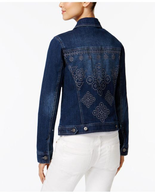 Style & Co. | Blue Petite Cross-stich Embroidered Denim Jacket | Lyst