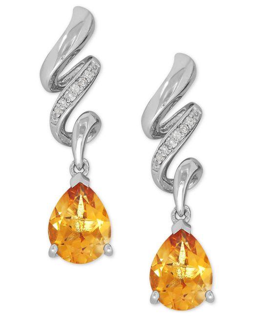 Macy's - Metallic Citrine (1-9/10 Ct. T.w.) And Diamond Accent Twist Drop Earrings In Sterling Silver - Lyst