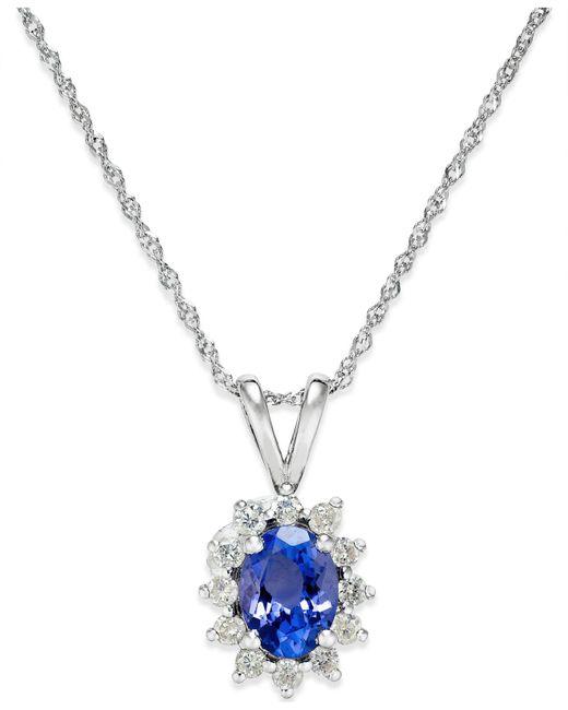 Macy's - Multicolor Tanzanite (3/4 Ct. T.w.) And Diamond (1/5 Ct. T.w.) Pendant Necklace In 14k White Gold - Lyst
