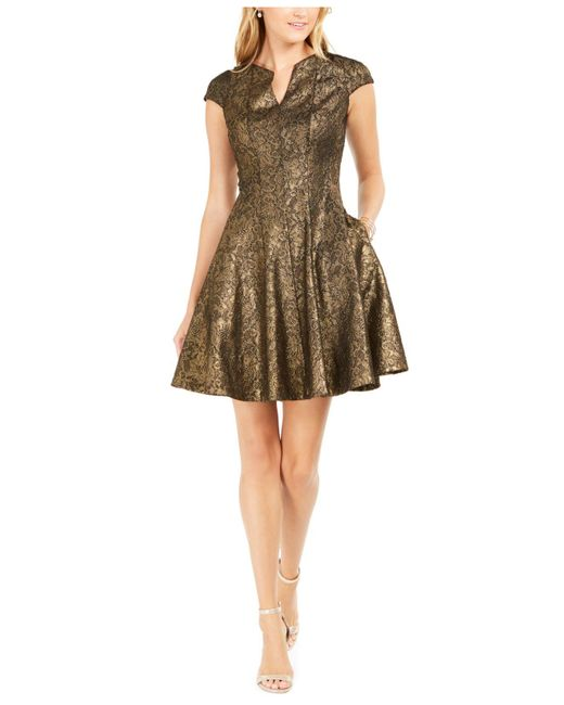 Julia Jordan Metallic Lace Fit & Flare Dress