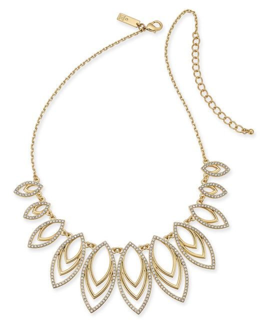"""INC International Concepts Metallic Inc Navette Statement Necklace, 18"""" + 3"""" Extender, Created For Macy's"""