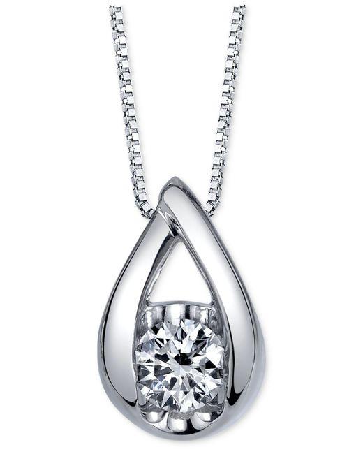 Sirena - Metallic Diamond Teardrop Pendant Necklace (1/5 Ct. T.w.) In 14k White Gold - Lyst