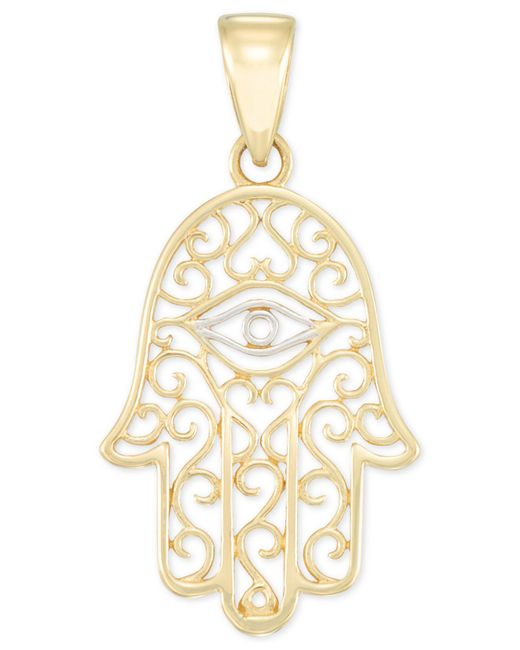 Macy's - Metallic Two-tone Hamsa Hand Pendant In 14k Gold & White Gold - Lyst