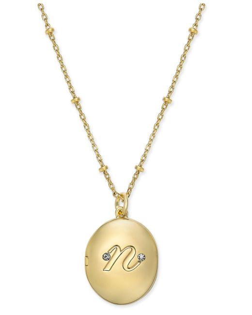 """Kate Spade   Metallic Gold-tone Initial """"a"""" Oval Locket Necklace   Lyst"""