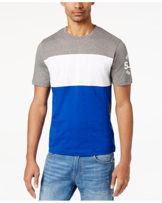 Sean John | Gray Men's Pieced Colorblocked Logo-print T-shirt for Men | Lyst