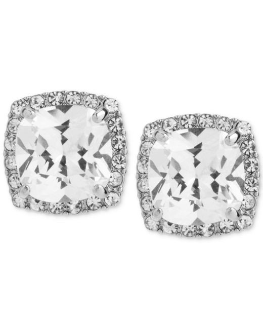 Betsey Johnson - Metallic Silver-tone Square Crystal And Pavé Stud Earrings - Lyst