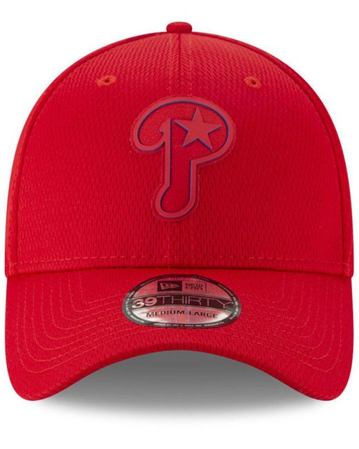 new styles 23471 3842f ... KTZ - Red Philadelphia Phillies Clubhouse 39thirty Cap for Men - Lyst  ...