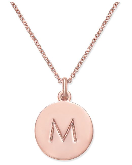 Kate Spade   Metallic Rose Gold-tone Initial Disc Pendant Necklace   Lyst